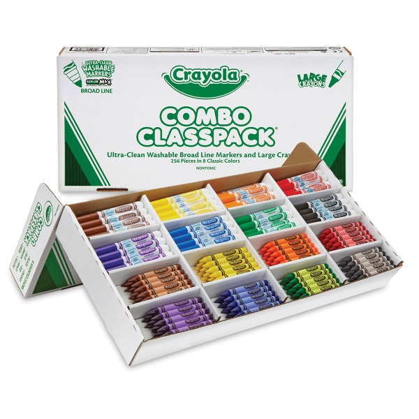 Classpack of 256, Large-Size Crayons and Washable Markers