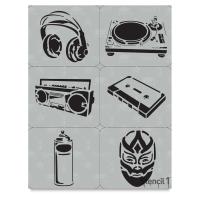 Graffiti Set No. 1 Stencils, Set of 6