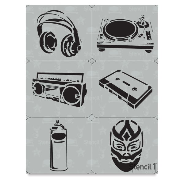 Graffiti Set No. 1 Stencils, Set of 6