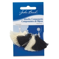 Cotton Tassels, Pkg of 4, Black and Ivory