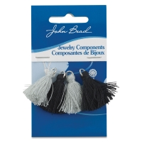 Cotton Tassels, Pkg of 4, Black and Grey