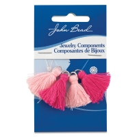 Cotton Tassels, Pkg of 4, Rosewater and Fuchsia