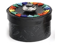 African Embossed Leather Box